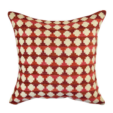 Red Cabin Geometric Woven Throw Pillow