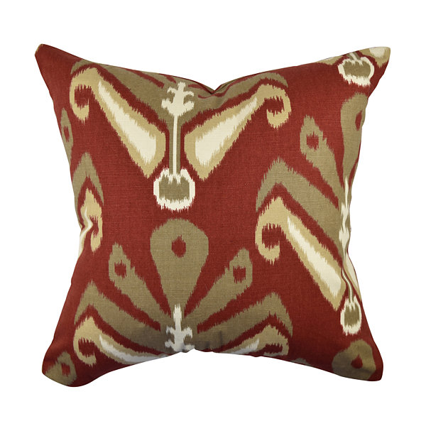 Red Fleur De Lis Designer Throw Pillow