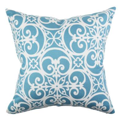 Sky Blue Jacobean Designer Throw Pillow