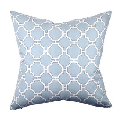 Sky Blue Quatrefoil Designer Throw Pillow