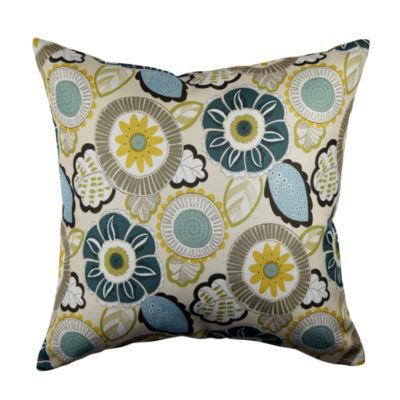 Tan Artistic Floral Linen Throw Pillow