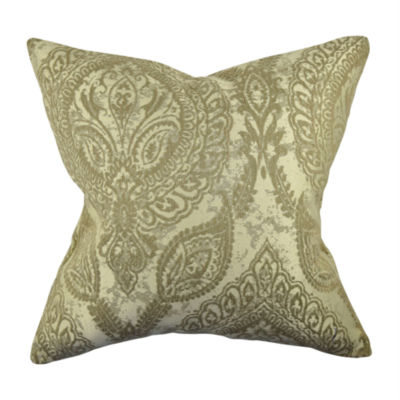 Tan Damask Flocked Throw Pillow