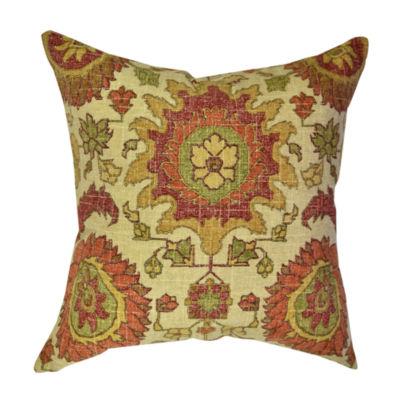 Tan Linen Throw Pillow : Tan Historic Floral Linen Throw Pillow - JCPenney