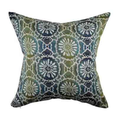 Velvet Deep Blue Floral Throw Pillow