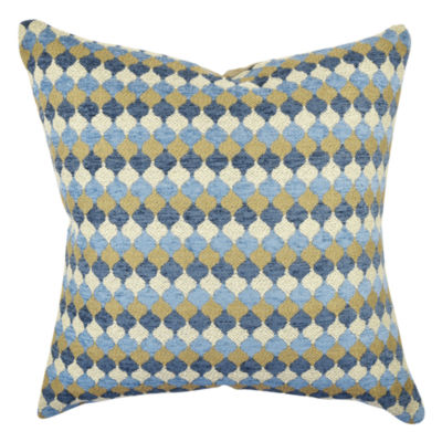 Vesper Lane Blue and Tan Contemporary Ogee Throw Pillow