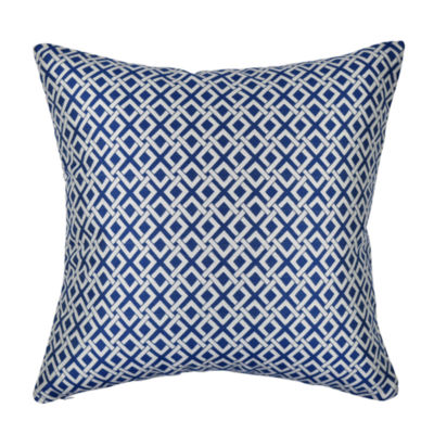 Vesper Lane Blue and White Geometric Link Throw Pillow