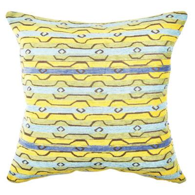 Vesper Lane Blue and Yellow Modern Stripe Throw Pillow