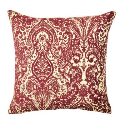 Vesper Lane Bold Burgundy Damask Throw Pillow