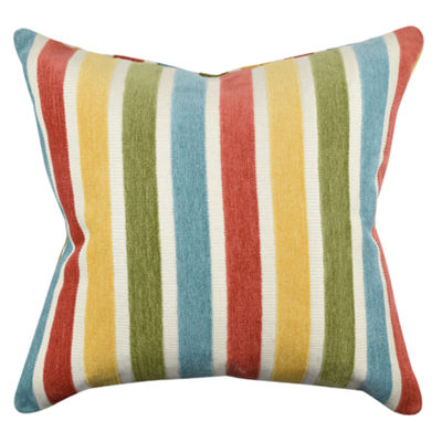 Vesper Lane Bright Stripes Flocked Throw Pillow