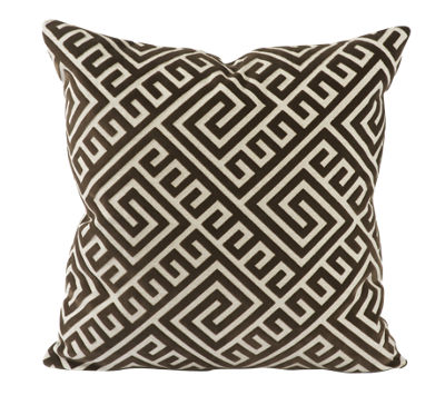 Vesper Lane Brown Geometric Fretwork Throw Pillow