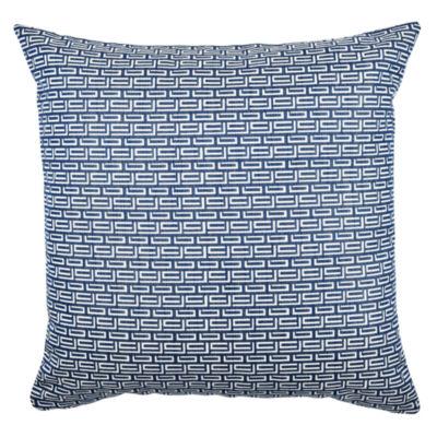 Vesper Lane Fret Pattern Blue and White Jacquard Pillow