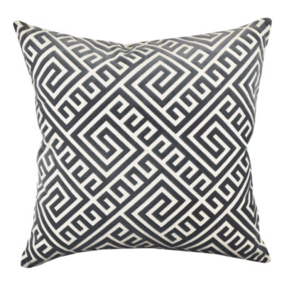 Vesper Lane Graphite Geometric Fretwork Throw Pillow