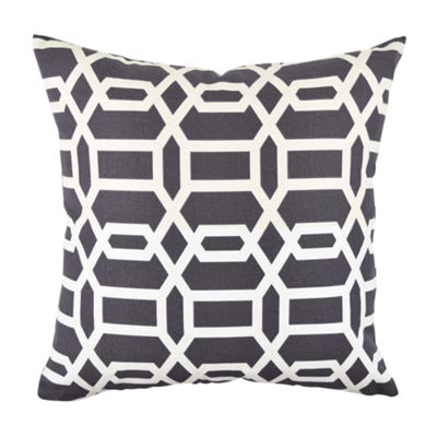 Vesper Lane Grey and White Circle Link Throw Pillow