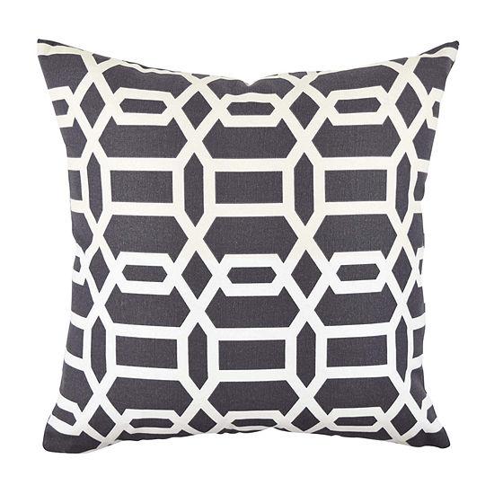 Vesper Lane Grey and White Circle Link Throw Pillow