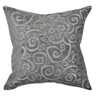 Vesper Lane Grey Scrolls Flocked Throw Pillow