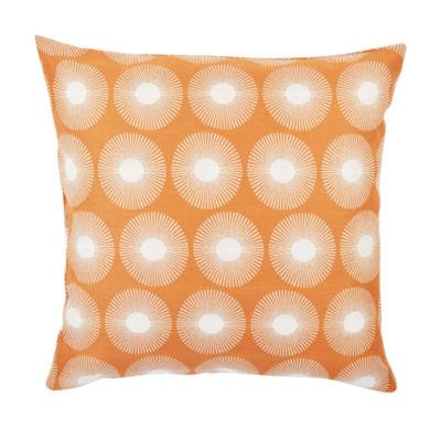 Vesper Lane Orange and White Modern Floral Throw Pillow