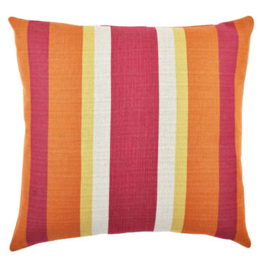 Vesper Lane Pink and Orange Wide Striped Throw Pillow