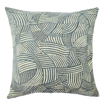 Vesper Lane Stormy Blue Jacquard Designer Throw Pillow