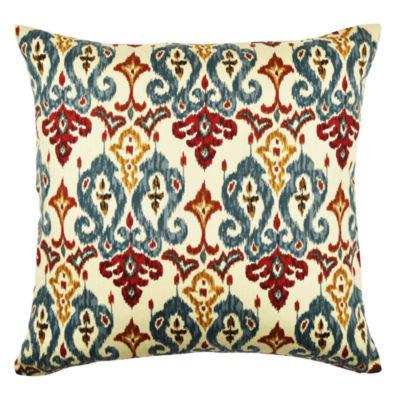 Vesper Lane Tan and Red Damask Throw Pillow