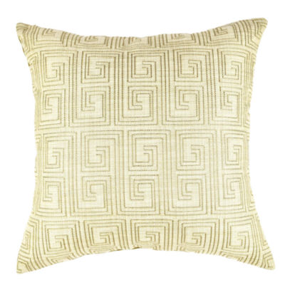 Vesper Lane Tan Geometric Pattern Designer Throw Pillow