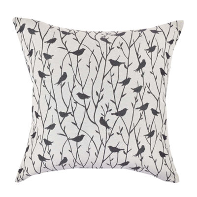 Vesper Lane White and Black Bird Jacquard Pillow