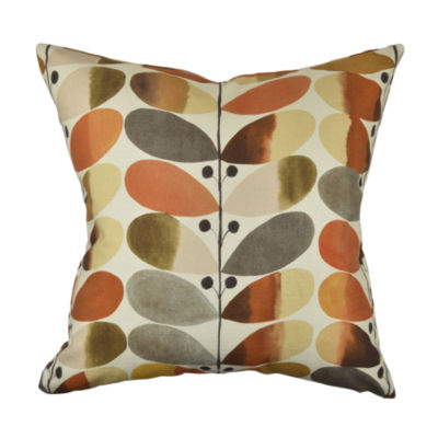Warm Modern Leaf Designer Throw Pillow