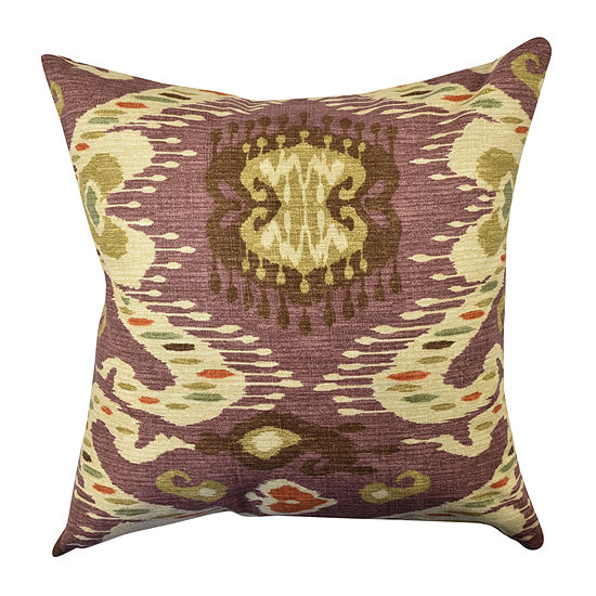 Warm Purple Ikat Inspired Throw Pillow