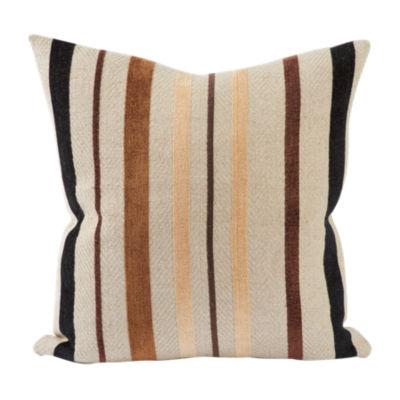 Flocked Brown Stripes Throw Pillow