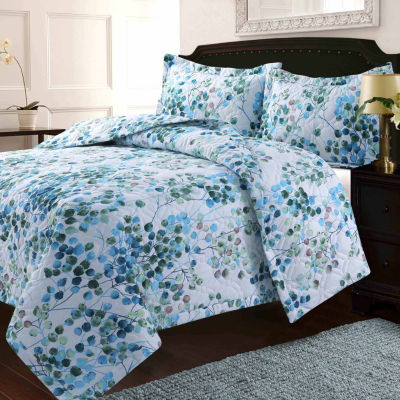 Lyon Leaves Printed Oversized Geometric Quilt Set