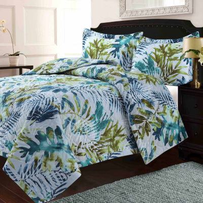 Lyon Tropical Rainforest Printed Oversized Geometric Quilt Set