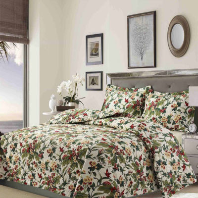 Lyon Tropical Garden Printed Oversized Geometric Quilt Set