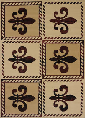 United Weavers China Garden Collection Patchwork Fleur De Lys Rectangular Rug