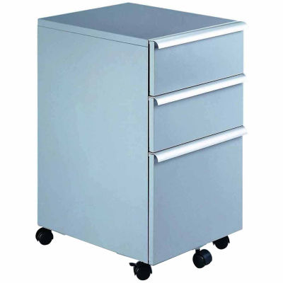Filing Cabinet in Silver with 3 Drawers