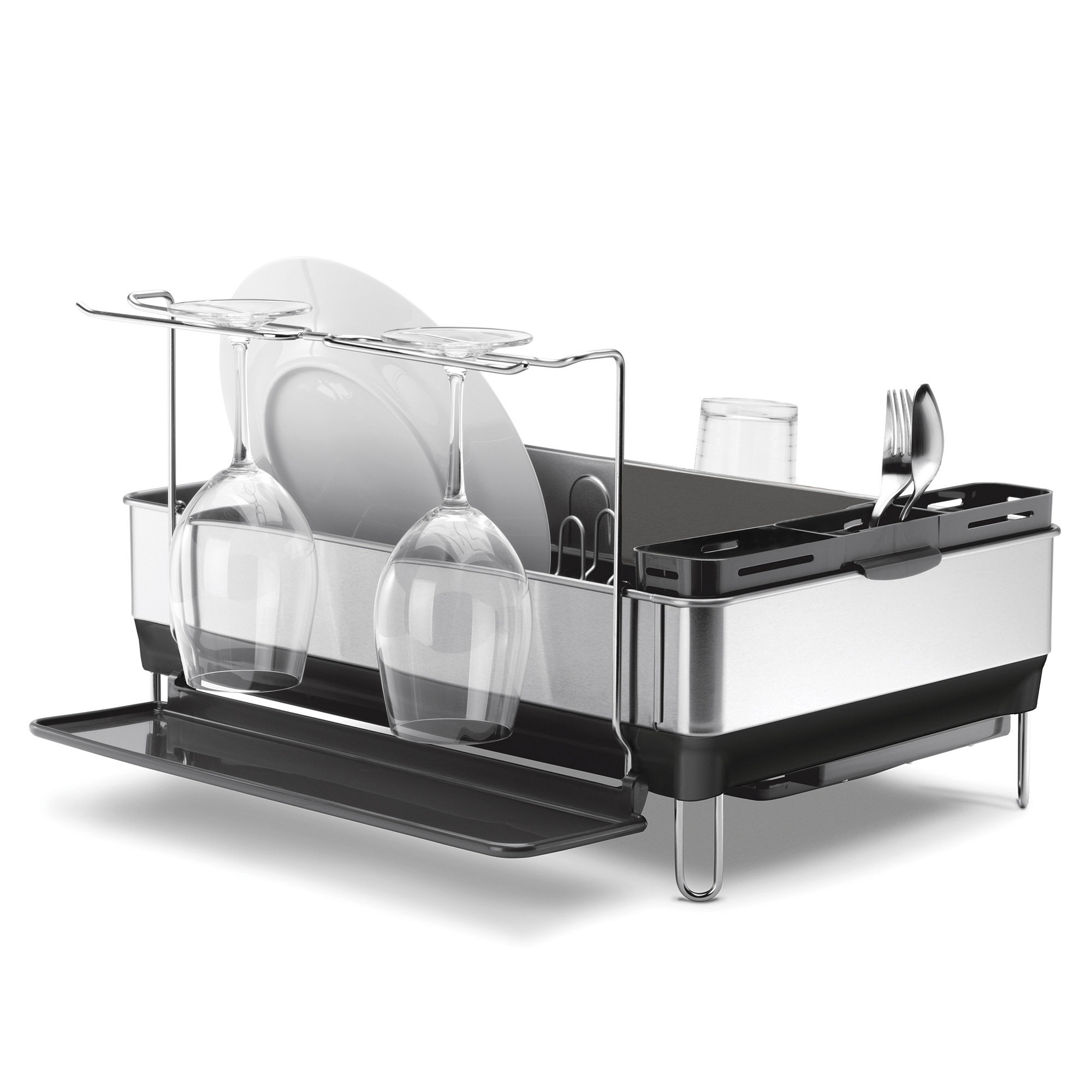 simplehuman Steel Frame Dish Rack + Wine Glass Holder