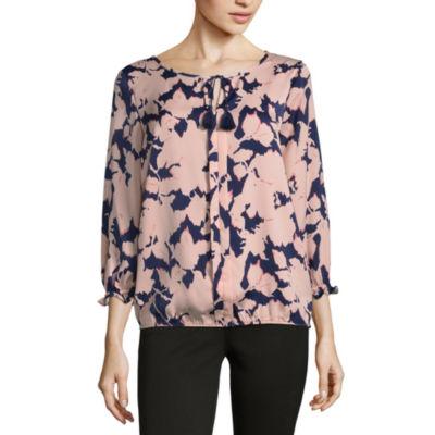 Liz Claiborne 3/4 Sleeve Floral Peasant Top
