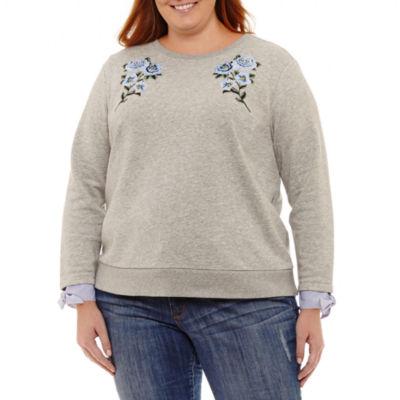St. John's Bay Long Sleeve Sweatshirt with Woven Cuff - Plus