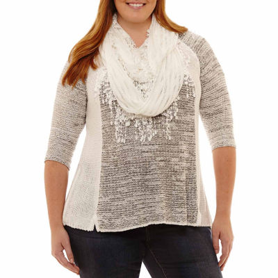 Unity World Wear 3/4 Sleeve Sweater with Scarf-Plus