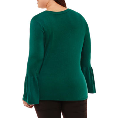 Worthington Long Bell Sleeve Pullover Sweater-Plus