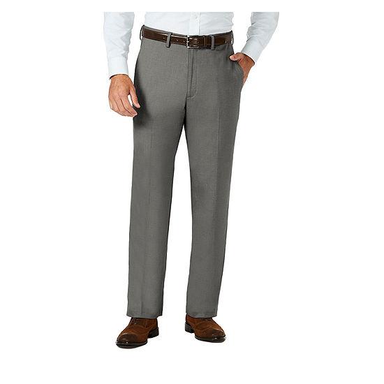 J.M Haggar Sharkskin Classic Fit Flat Front Dress Pant