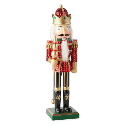 North Pole Trading Co. 14 Inch Red Sequin King Nutcracker