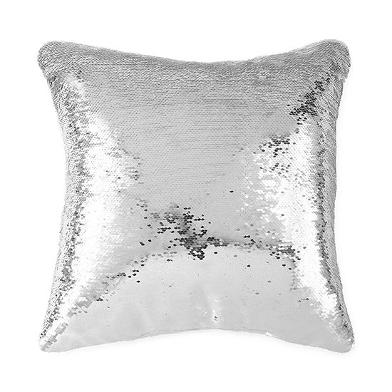 North Pole Trading Co. Solid Mermaid Sequin Square Throw Pillow