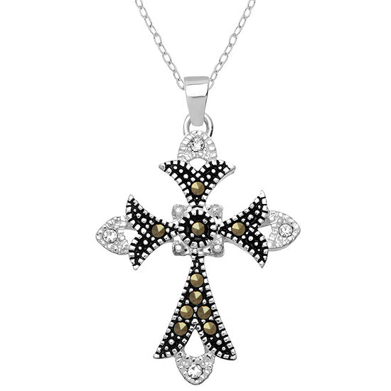 Sparkle Allure Marcasite Womens Genuine Multi Color Pure Silver Over Brass Cross Pendant Necklace