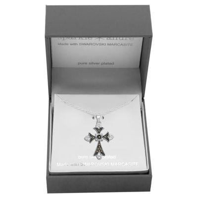 Sparkle Allure Made With Swarovski Marcasite Womens Genuine Multi Color Pure Silver Over Brass Cross Pendant Necklace