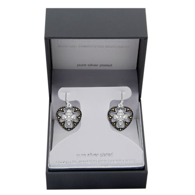 Sparkle Allure Made With Swarovski Marcasite Multi Color Marcasite Pure Silver Over Brass Cross Drop Earrings