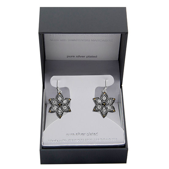 Sparkle Allure Made With Swarovski Marcasite 1 Pair Multi Color Marcasite Pure Silver Over Brass Star Drop Earrings
