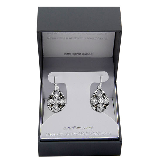 Sparkle Allure Made With Swarovski Marcasite 1 Pair Multi Color Marcasite Pure Silver Over Brass Pear Drop Earrings