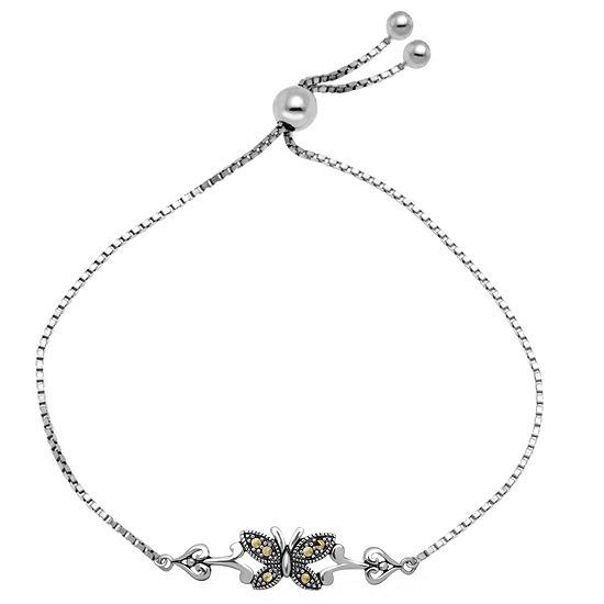 Sparkle Allure Made With Swarovski Marcasite Gray Marcasite Pure Silver Over Brass Butterfly Bolo Bracelet