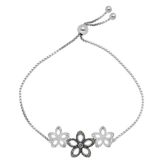 Sparkle Allure Made With Swarovski Marcasite Multi Color Marcasite Pure Silver Over Brass Flower Bolo Bracelet