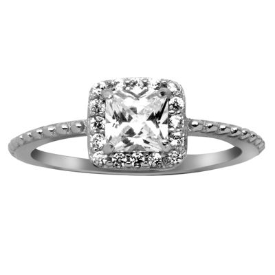 Silver Treasures Womens Lab Created Sterling Silver Engagement Ring
