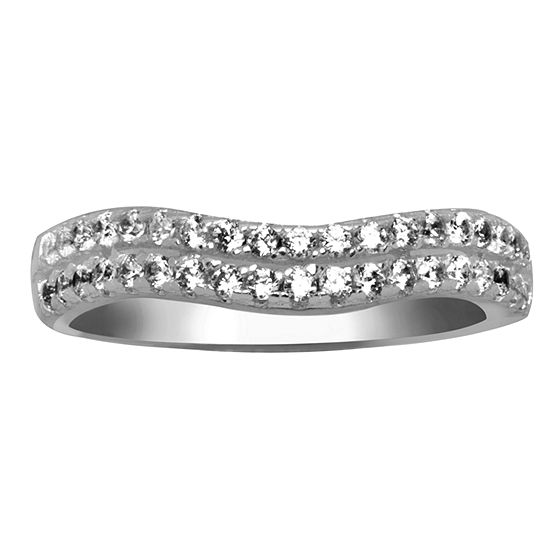 Silver Treasures Womens 2MM Cubic Zirconia Sterling Silver Band